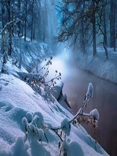 Snow Calm River Mobile Wallpaper