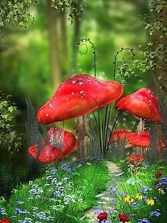 Red Mushrooms Mobile Wallpaper