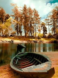 Old Boat Autumn Mobile Wallpaper