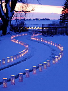 Snow Lights Road Mobile Wallpaper