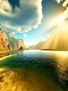 Sunshine River Mobile Wallpaper
