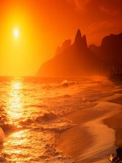 Orange Sun Sea Mobile Wallpaper