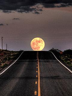 Road To Moon Mobile Wallpaper
