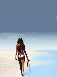 Beach Girl Mobile Wallpaper