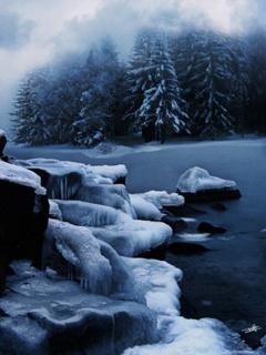 Night Winter River Mobile Wallpaper