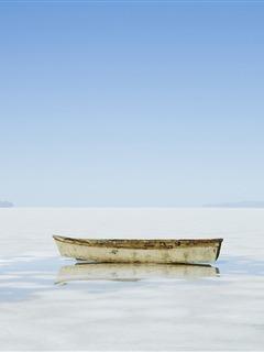 Boat On Snow Mobile Wallpaper