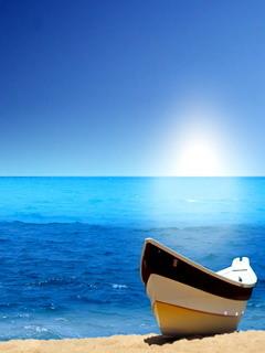 Blue Boat Mobile Wallpaper
