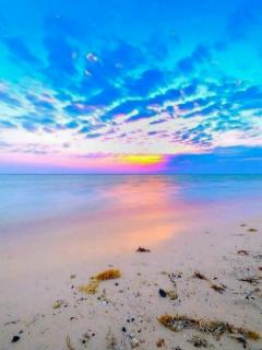Blue Sea Sunset Mobile Wallpaper