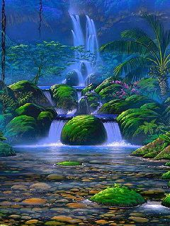 Waterfall And Green Mobile Wallpaper
