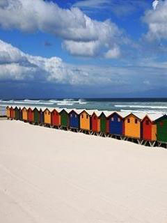 Beach Huts Mobile Wallpaper