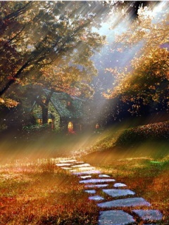Autumn Cottage Mobile Wallpaper