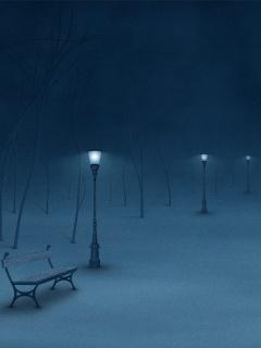 Blue Winter Night Mobile Wallpaper