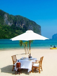 Relax On Beach Table Mobile Wallpaper