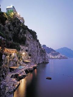 Purple Mountain City Amalfi Italy Mobile Wallpaper