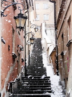 Snow Raining And Stairs Mobile Wallpaper