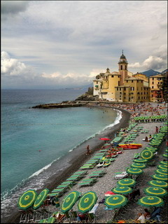 Beach Umbrellas Liguria Italy Mobile Wallpaper
