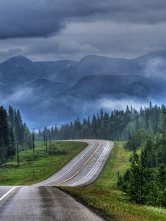 Alone Road Alberta Mobile Wallpaper