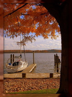 Autumn Boat On Sea Mobile Wallpaper
