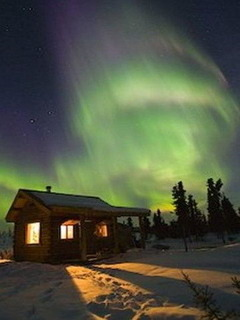 Aurora Borealis Cabin Fairbanks Alaska Mobile Wallpaper