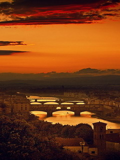 Four Bridges Of Florence Mobile Wallpaper