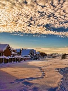 Winter Houses Mobile Wallpaper