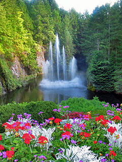 Waterfalls And Flowers Mobile Wallpaper