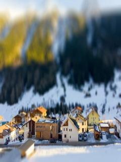 Little Tiny Houses In Winter Mobile Wallpaper