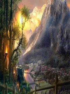 Beautiful City Mountain View Mobile Wallpaper