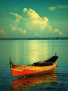 Boat On Sea Mobile Wallpaper