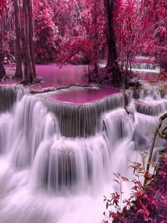 Pink Waterfalls Mobile Wallpaper