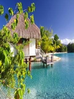 Tropical Paradise Resort Mobile Wallpaper