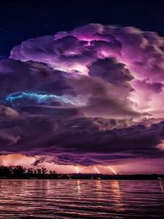Lightning Storm Lake Near Jasper Alabama Mobile Wallpaper