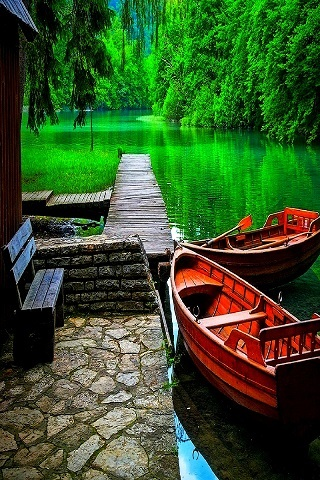 Boats Green Forest Nature IPhone Wallpaper Mobile Wallpaper