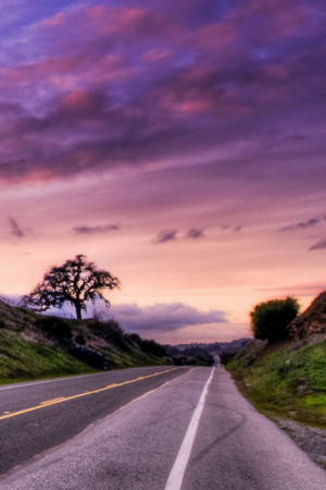 Purple Sunset Road IPhone Wallpaper Mobile Wallpaper