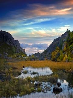Beautiful Mountain View Field Mobile Wallpaper