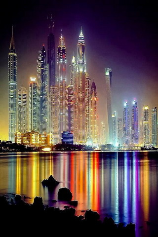 Dubai Colors Lighting Awesome View IPhone Wallpaper Mobile Wallpaper