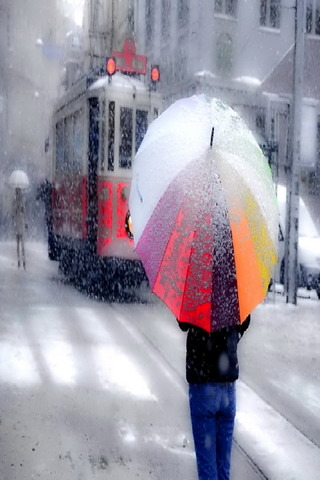 Winter Snow Raining & Umbrella Mobile Wallpaper