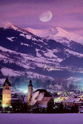 Sbowy City Purple Nature Austria IPhone Wallpaper Mobile Wallpaper
