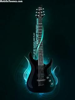 Cool Black Guitar Mobile Wallpaper