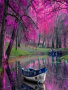 Purple Tree And Boat wallpapers